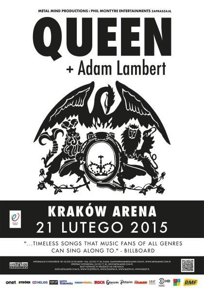 Queen + Adam Lambert w trasie koncertowej, 21 lutego koncert w Krakowie!